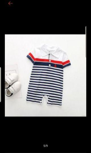 🚚 Baby collared romper outfit size 80