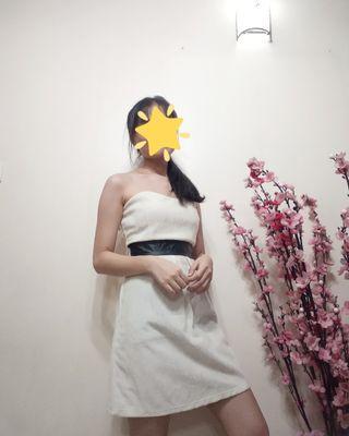 Sweetheart Neckline Velvet White Dress