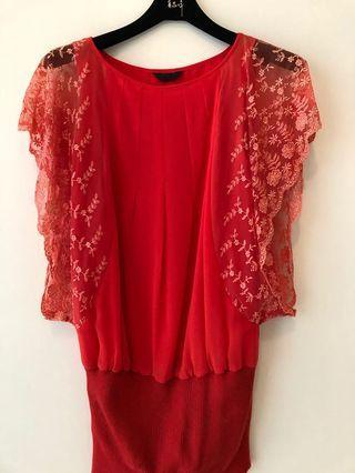 🚚 黃淑琦橘紅色蕾絲洋裝