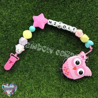 Handmade Pacifier Clip with customised name letter beads + Pink owl Teether