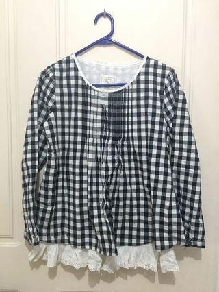 Long sleeve lace cotton check gingham top Japanese Korean mori