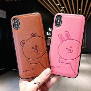 1176BROWN CONY皮質IPHONE手機電話殼 IPHONE6 7 8 X PLUS XS XR XS MAX