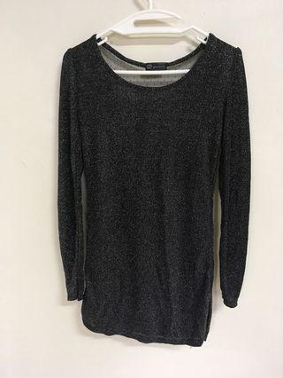 Black long sleeve Top with sexy back