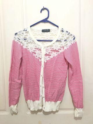 Red stripe lace cardigan jumper