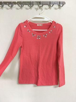 Pink cotton long sleeve top