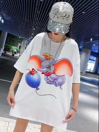 PO LLM190976 S-2XL Dumbo Glittering Effect Large Tee/Dress
