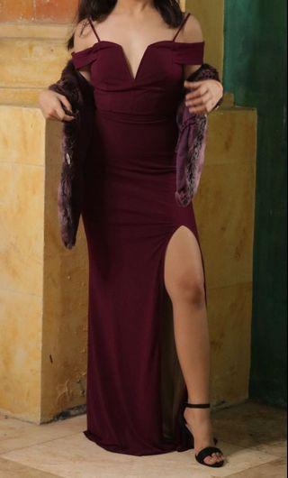 Violet red long slitted dress