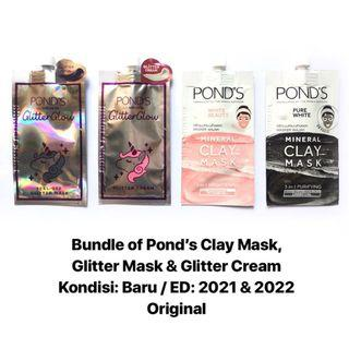 [FREE DELIVERY] Pond's Clay Mask, Glitter Mask & Cream (Take All/Bundle Sachet)