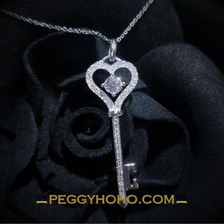 【Peggyhoho】全新18K白金單粒21份鑽石吊墜|Mabelle 出品 |罕有Leo鑽石 E VS1 Key Pendent