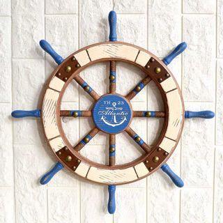 Wooden ship steering wheel