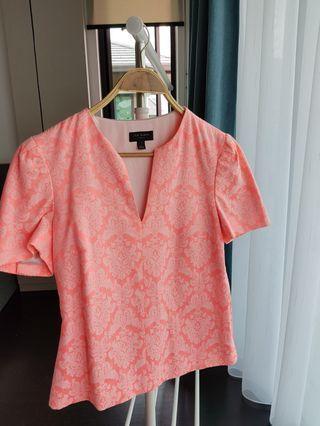 Ted Baker pink brocade print blouse