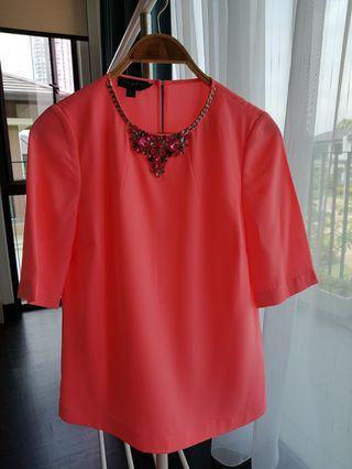Ted Baker Neon pink embellished blouse