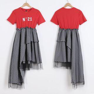 🚚 N21短袖上衣拼接不規則格子紗裙洋裝