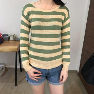COLORBOX GREEN STRIPES SWEATER