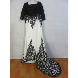 readystock black white fishtail long sleeve off shoulder wedding bridal prom evening gown dress plus size