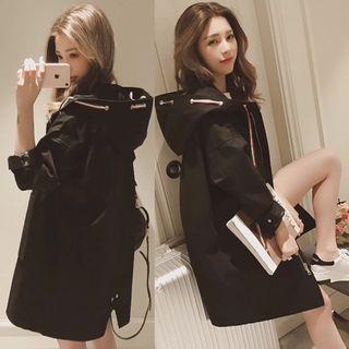 風衣女中長款2018 春秋季新款韓版寬鬆大碼夾克大衣連帽長袖外套女(黑色)
