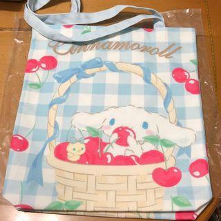 Cinnamoroll 肉桂狗 粉藍白格 ✩單肩布袋