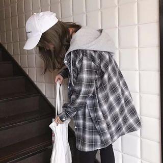 春秋女裝韓版原宿風寬鬆BF連帽襯衫薄外套ulzzang 復古格子學生潮 (黑色)