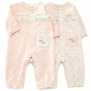 ✨coeur a coeur✨ 70cm 粉紅/淺粉紅2色 出口日本 純棉嬰兒BB長袖連身夾衣 全新 baby girl pink jumpsuit bodysuit