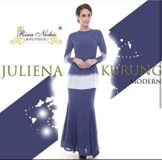 Rina Nicci Modern Kurung in Dusty Blue with Sawaroski Beads