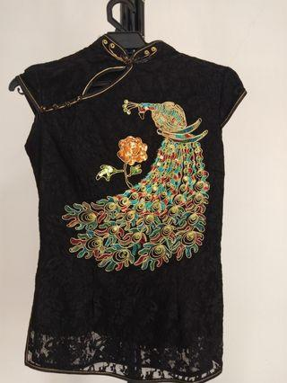Black Cheong Sam Top with gold thread peacock embroidery