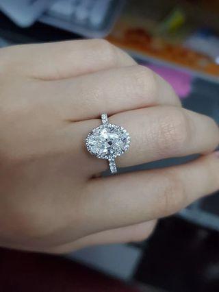 純銀D色3卡高碳鑽戒指高仿鑽
