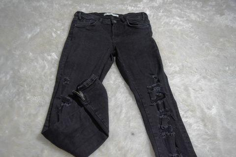 Zara Riped Zipper Jeans