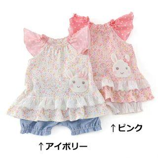 ✨coeur a coeur✨ 70cm (只有右深粉紅) 出口日本 純棉嬰兒BB短袖上衣 全新 baby girl pink shirt