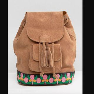 Park Lane Suede Festival Backpack With Embroidery