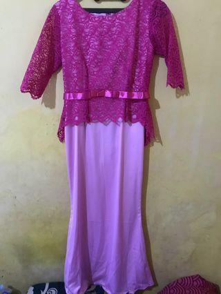 Dress Brukat kebaya pink murah furring lucu rok duyung