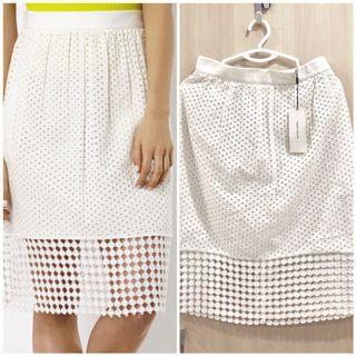Karen Millen Broderick White Skirt