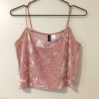 H&M crushed velvet strappy camisole top pink