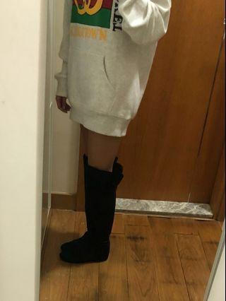 韓國 仿毛 黑色 內增高 過膝 長boot