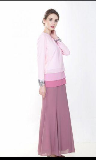 Rina Nicci Modern Kurung in Dusty Pink