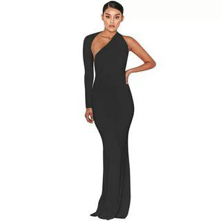 Fashion sexy women elegant dress 2018 new arrival solid one shoulder backless hollow out nightclub wear party