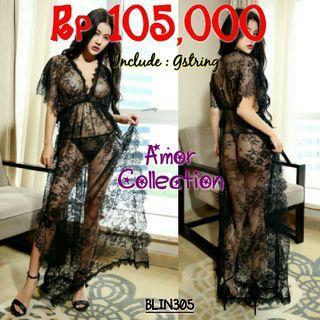 Lingerie seksi Big Size dress hitam -BLIN305- By AMORCOLLECTION