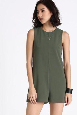 Love Bonito Phillean Sash Playsuit, Olive Green, S