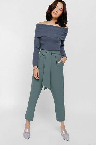 Love Bonito Pamaiza Sash Peg Trousers, Jade Green, S