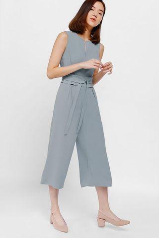 Love Bonito Jyolanda Pleat Waist Sash Midi Jumpsuit, baby blue, s