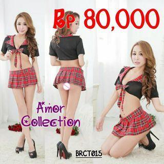 Lingerie seksi kostum pelajar hitam merah -BRCT015-By AMORCOLLECTION