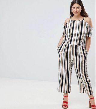 AX Paris Plus Stripe Jumpsuit