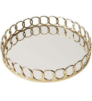 Gold mirrored tray with loops