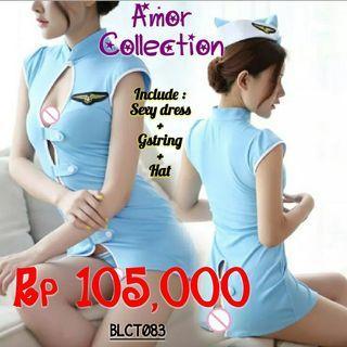 Lingerie seksi kostum pramugari biru -BLCT083- By AMORCOLLECTION