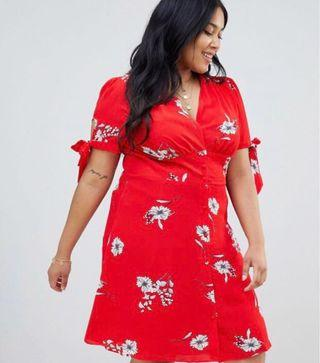 Glamorous Curve floral button through tea dress