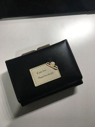 pearl black leather wallet