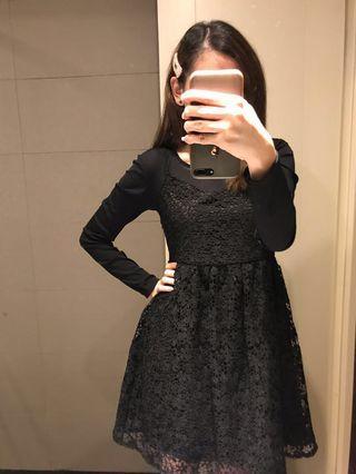 *NEW LBD* Dolly Dress - Lace 2piece Design Black Dress - Long Sleeve - Ladies Dress - Dinner Dress - Taiwan