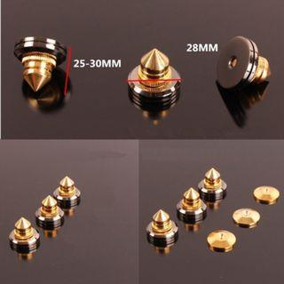 24K gold plated pure copper spikes + nickel plated top