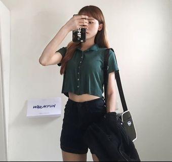 綠色polo短版上衣