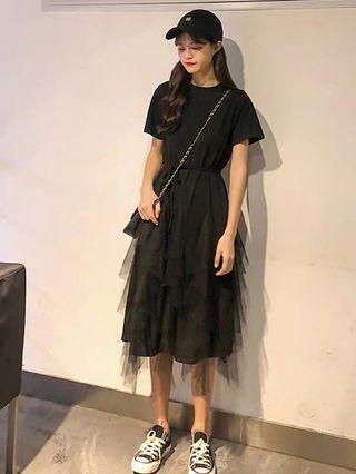(全新) 黑色顯瘦網紗拼接蛋糕裙