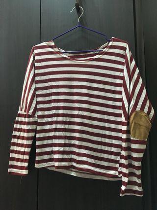 (二手)紅色條紋短版長袖上衣